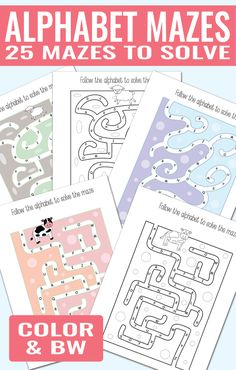 Alphabet Mazes to Solve - 25 Wonderful Alphabet Worksheets for Kids
