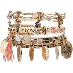 HUNTER GATHERER BRACELET SET GOLD ($149) ❤ liked on Polyvore featuring jewelry, bracelets, engraved bangle, hammered gold jewelry, engraved gold bangle, hammered gold bangle and gold jewelry