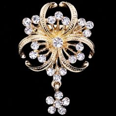Find More Brooches Information about 36*54mm handmade gold Clover flower vintage brooch color rhinestone brooches for women diy Fashion Jewelry breastpin brooch pins,High Quality brooch jewelry,China brooch spider Suppliers, Cheap brooch pin from Playful beauty department store on Aliexpress.com
