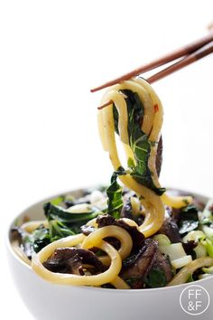 Bok Choy and Mushrooms with Udon Noodles