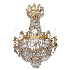 18th Century French Empire gilt bronze and crystal chandelier circa 1785