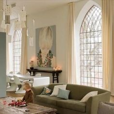 Love the idea of the supersized photo - Stunning chapel converted into a cozy Belgium loft for a family of four.