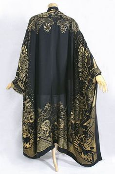 Deco metallic brocade evening wrap, c.1924, from the Vintage Textile archives.: