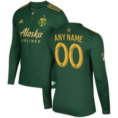 5f208ee02 Portland Timbers adidas 2017 Primary Authentic Custom Long Sleeve Jersey -  Green