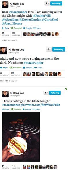 Ki Hong Lee recounts the cast's night spent camping