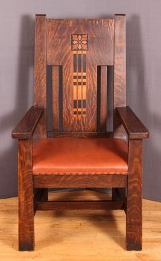 Lot: Shop Of The Crafters Inlaid Oak Arm Chair, Lot Number: 0046,