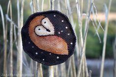 Barn owl brooch fabric owl hand painted and by JaraKacaHandmade
