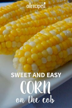 Jamies Sweet and Easy Corn on the Cob OMG Seriously the best corn on the cob we have ever had Sugar lemon juice Insane But it worked beautifully Boil Corn On Cob, Boil Sweet Corn, Cooking Sweet Corn, Cooking Corn On Cob, Boil Corn Recipe, Corn Recipes, Side Dish Recipes, Fresh Corn On The Cob Recipe, Vegetable Dishes