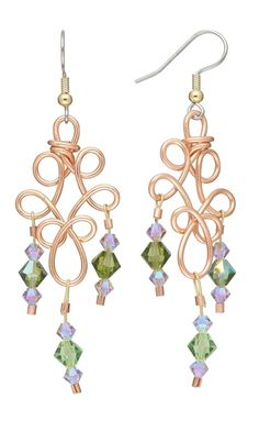 Earrings with Wirework and Swarovski Crystal Beads - Fire Mountain Gems and Beads