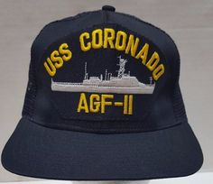USS Coronado Navy Hat AGF-11 Blue Embroidered Ship Snap Back USA