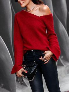 973ca7237f39 Red Asymmetric Shoulder Irregular V-neck Long Sleeve Casual Sweater