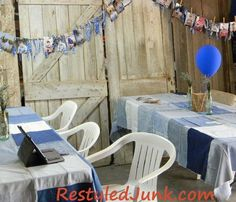 A wanna-have!!!!  Recycled DENIM Party Tablecloths  .. decor for graduation party... and I'm thinking ... 4th of July party.   (there's also a linky party here, btw)