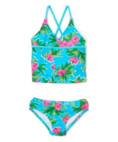 Aqua Krista Floral Tankini - Toddler & Girls