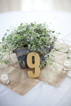 simple wood painted table number