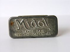 Vintage Medicine Tin Midol  Takes Pain Off The by veraviola, $12.00