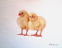 Chickens  Original Watercolor on Paper 8x10 by TrueImpressions, $18.00
