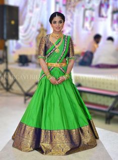 Labels South Indian Brides Are Loving For Their Mehendi! Labels South Indian Brides Are Loving For Their Mehendi! Lehenga Saree Design, Half Saree Lehenga, Pattu Saree Blouse Designs, Half Saree Designs, Lehnga Dress, Fancy Blouse Designs, Bridal Blouse Designs, Blouse Neck Designs, Lehenga Designs