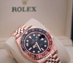 Rolex GMT-Master II in Everose gold.