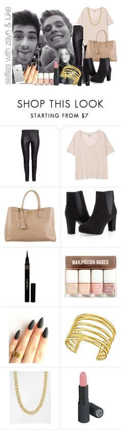 """""""selfies with zayn & luke"""" by rosa-brooks ❤ liked on Polyvore featuring Prada, Ashley Stewart, Napoleon Perdis, H&M, Lynn Ban and Pieces"""