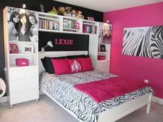 Teenage Girl Bedroom Design Cool Design Ideas Of Teenage Girls Bedroom With White Wooden Bed Frames And Headboard Also Storage Cabinets Shelves Book Black Colors Zebra Skin Pattern Covered Bedding Sheets Pink Pillows Combine Wall Paint Fur Carpet Teenage Girl Bedroom Designs, Teenage Girl Bedrooms, Teenage Room, Girl Rooms, Tween Girls, Bed Rooms, Teenage Guys, Bedroom Girls, Childrens Bedroom