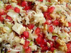 Ensalada tibia de arroz con granada, nueces y feta - Wild rice salad with pomegranate, walnuts and feta
