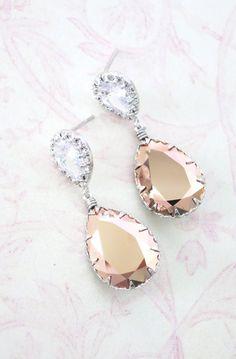 Cubic Zirconia Teardrop Swarovski Crystal Teardrop Earrings, Bridesmaid Earrings, Bridal Jewelry, Wedding Jewelry, Silver Rose Gold, www.glitzandlove.com