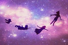 In this cool anime wallpaper, we see Peter Pan Flying with wendy and her brothers. The milky way looks cool in the background.