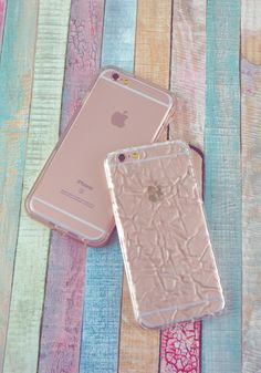 Rose Smoke Hybrid Case and the Clear Crystalline Case on rose gold iPhone 6s