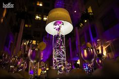 Beautiful Blooms Hoffer Photography Curtis Center Purple and White Wedding Lampshades Submerged Orchids