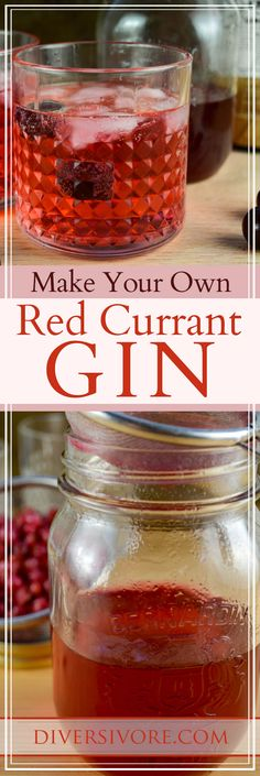 Red Currant Gin - A simple, beautiful DIY infusion that will bring your cocktails to life! Works wonderfully with black or white currants too. Frozen Drink Recipes, Summer Drink Recipes, Easy Drink Recipes, Sangria Recipes, Beer Recipes, Drinks Alcohol Recipes, Summer Drinks, Vegan Recipes Easy, Fun Drinks