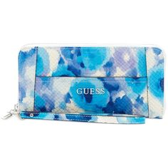 Guess Delaney Large Zip Around Wallet (1.555 RUB) ❤ liked on Polyvore featuring bags, wallets, cobalt multi, large zip wallet, guess wallet, wristlet bag, guess wristlet and blue bag