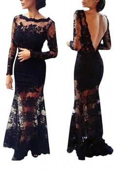 Black Laced Evening Dress with Low Back (56780) - MADE to OR,  Dress, black dress  black lace dress  black, Chic