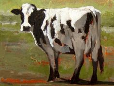 Cow black and white Holstein cow art 85 x 11 PRINT of by GWENSART