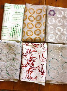 handprinted fabric using items around the house