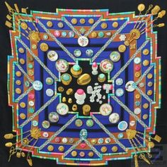 """Hermes Black & Multicolor Silk Cathy Latham """"Petite Main"""" 90cm Square Scarf- On auction now at www.shopedropoff.com- eBay # 251117312032"""