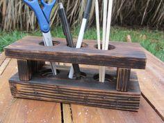 Desk Organizer Made From Reclaimed Wood Pallets - Wood Desk Caddy - Wood Desk Storage