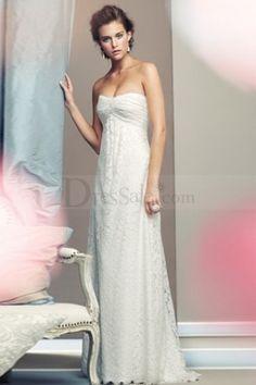 Modest Strapless White Wedding Dress with Flowing Full Skirt