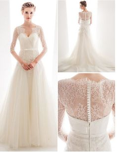 Very elegant lace wedding dress. Slimming silhouette with train ...