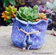Lavender tie pot with beads