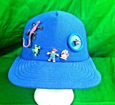 250680263c3 Vtg USA Made Snapback Hat Kids Toys Frog Dog Boy Blue Prop Trucker Mesh Cap   screenstar  Trucker