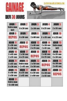 Gainage défi 30 jours