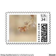 String of golden leaves stamp
