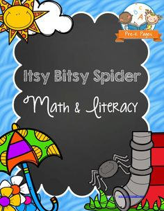 Printable Itsy Bitsy Spider Math and Literacy Activities for Preschool and Pre-K. Your kids will have fun learning Alphabet Letters, Numbers, Counting, Fine Motor Skills, Sequencing, Concepts of Print and more!