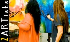 Acrylic painting abstract - Speedpainting Demo - watch 2 artists by zAch...