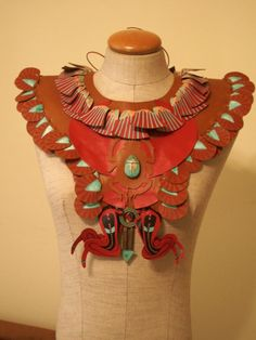 Scarab Beetle Leather Collar Hand Painted Fringe With Scarab Carved  Stone Hand Made Cracchiolo Designs/ Tee-Pee-Toes. $625.00, via Etsy.