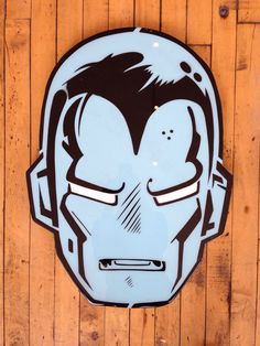 """""""Ironman"""" by Jason Rowland  Aerosol, stencil and poly resin coating on wood  Available at GalerieF.com"""
