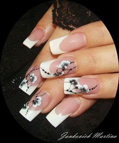 Pretty Flower Long French Nails - pretty, but a bit elaborate for day to day. French Nail Designs, Beautiful Nail Designs, Beautiful Nail Art, Cool Nail Designs, Awesome Designs, Fabulous Nails, Gorgeous Nails, Pretty Nails, Long French Nails