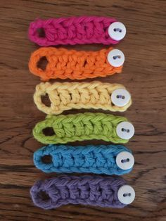 Stupid easy crochet wine glass charms/markers! CH 15, DC 4th CH from hook, DC 6, Sl St into 1st chain. Add button. Cheers!
