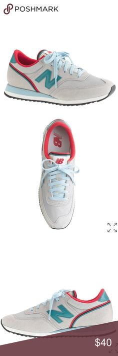 J. Crew x New Balance 620 Sneakers Introducing the 620, a classic men's style from New Balance, made in soft suede and sized down just for women. Suede upper. Rubber sole. Colors are light grey, red, and teal. True to size. Great used condition. J. Crew Shoes Sneakers