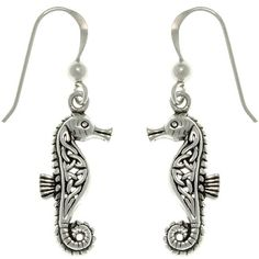 Carolina Glamour Collection Sterling Silver Celtic Seahorse Earrings ($31) ❤ liked on Polyvore featuring jewelry, earrings, white, seahorse earrings, white earrings, sea horse earrings, sterling silver dangle earrings and celtic jewelry